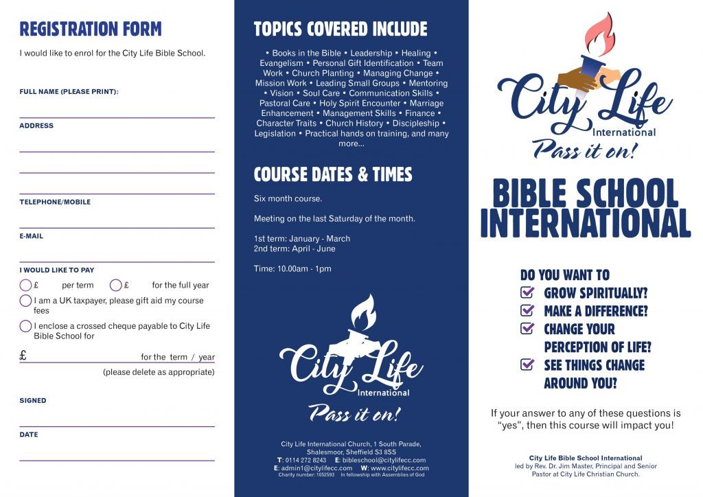 Bible School international flyer